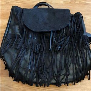 Forever 21 black fringe backpack